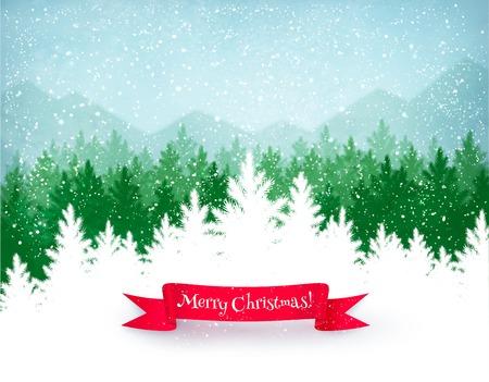 Kerst landschap achtergrond met vallende sneeuw, groen sparrenbos silhouet, bergen, en rood lint banner.