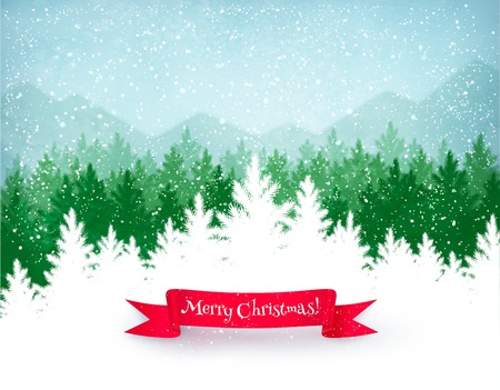Christmas landscape background with falling snow, green spruce forest silhouette, mountains, and red ribbon banner. Illustration