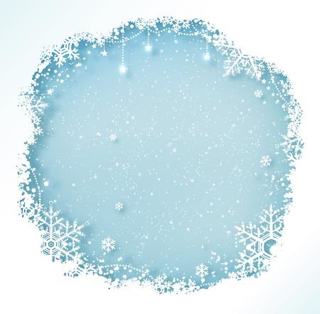 눈송이와 떨어지는 눈 파란색과 흰색 크리스마스 프레임. 일러스트
