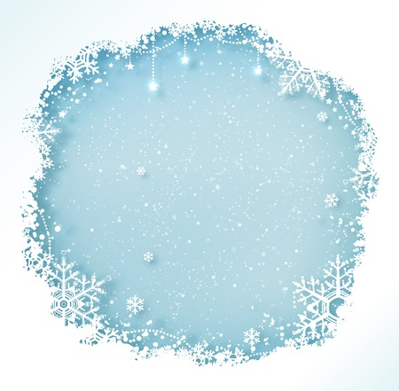 Blue and white Christmas frame with snowflakes and falling snow. Vectores