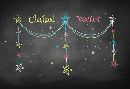 christmas garland: Color chalkboard drawing of Christmas garland with stars. Illustration