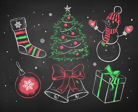 Hand drawn color red, white and green chalked Christmas set.