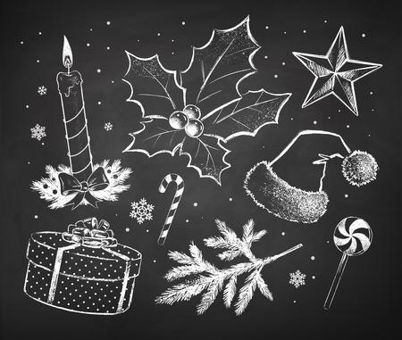 cajas navideñas: Chalked Navidad bosqueja la colección dibujada sobre fondo negro pizarra. Vectores