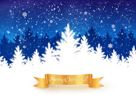 snow forest: Dark blue and white Christmas trees landscape background with falling snow, spruce forest silhouette and gold ribbon banner.