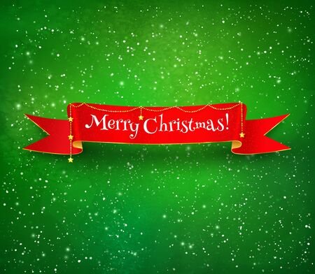 christmas isolated: Red Christmas ribbon banner with gold garland on green glowing watercolor background with falling snow.