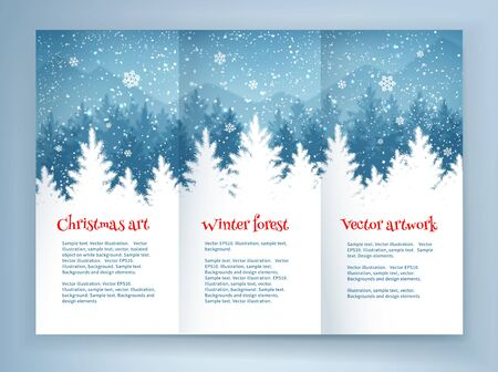 december holiday: Christmas leaflet design template with winter spruce forest landscape and falling snow.