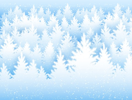 snow forest: Vector Christmas background with winter spruce forest and falling snow.