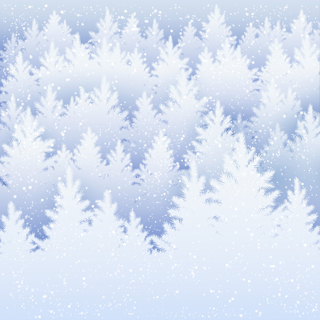 Vector Christmas background with winter spruce forest silhouette and falling snow. Vettoriali