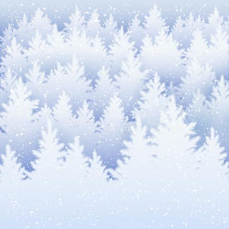 fiambres: Vector de fondo de Navidad con la silueta del bosque de abetos de invierno y la nieve que cae.