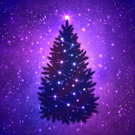 falling snow: Silhouette of Christmas tree with glowing decoration on grunge watercolor violet background with sparkles and falling snow. Illustration
