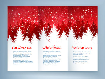 snow forest: Red and white Christmas leaflet design template with spruce forest landscape and falling snow.