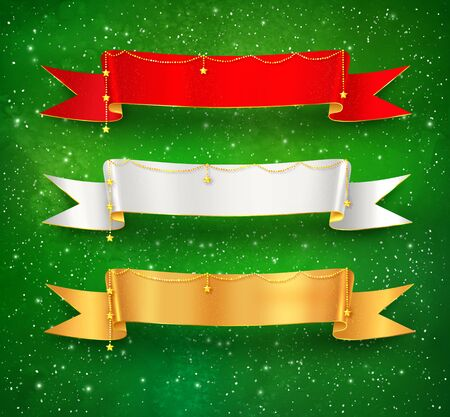 green ribbon: Festive satin ribbon banners with gold garland decoration on green grunge watercolor background with falling snow and light sparkles. Illustration