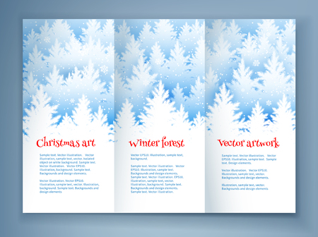 falling snow: Christmas leaflet design template with winter spruce forest silhouette landscape and falling snow.