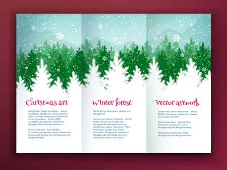 falling snow: Christmas leaflet design template with winter spruce green forest silhouette landscape and falling snow.