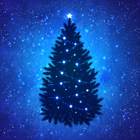 snow falling: Silhouette of Christmas tree with glowing decoration on grunge watercolor dark blue background with sparkles and falling snow. Illustration
