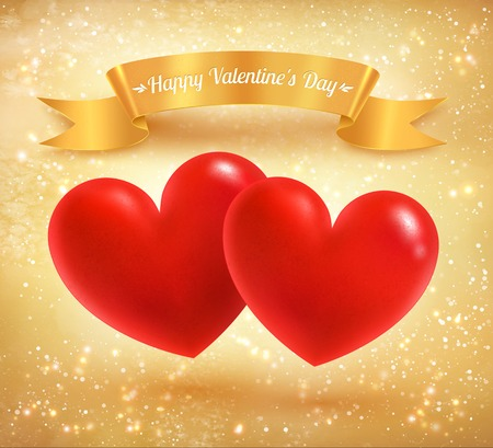 golden ribbon: Two Valentine hearts with golden ribbon banner on sparkly background. Illustration