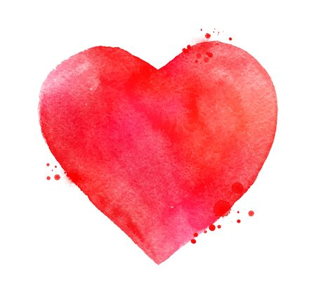 smudges: Vector hand painted watercolor sketch of red Valentine heart with paint splashes and smudges.