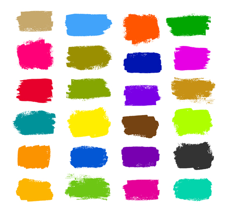 strokes: grunge collection of colorful brush strokes. Illustration