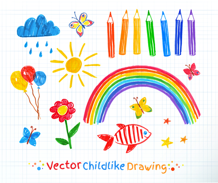 Felt pen childlike drawing set on school checkered paper background.
