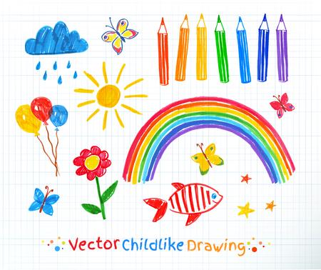 Felt pen childlike drawing set on school checkered paper background.