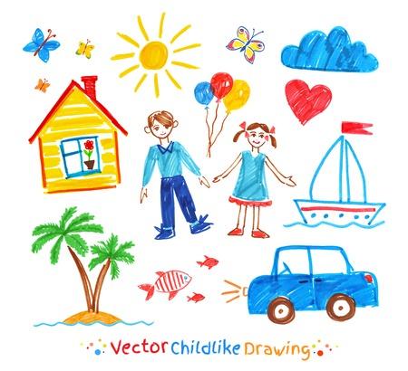 Felt pen childlike drawing set Stock Illustratie