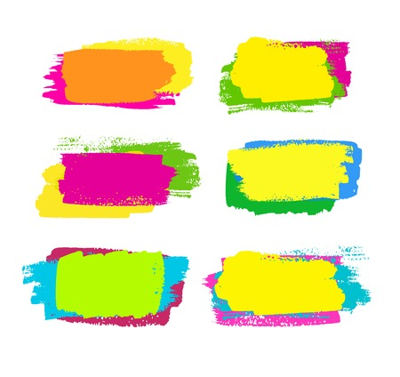 magenta: grunge collection of colorful yellow, green, orange and pink brush strokes.