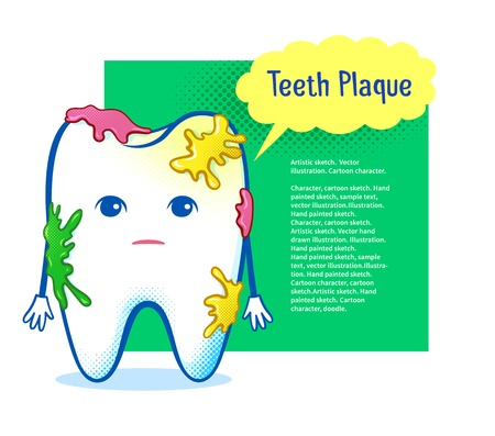 aching: Cute aching tooth character on speech bubble design background.