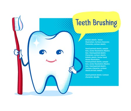 pediatrics: Cute healthy white shiny tooth character with toothbrush on speech bubble design background.