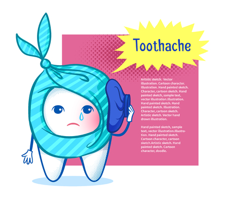 sorrowful: Sorrowful tooth character with ice bag on burst speech bubble design background. Illustration