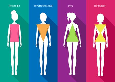 ilustraciones de siluetas en blanco hembra de tipos de cuerpo con sombras sobre fondo de color.