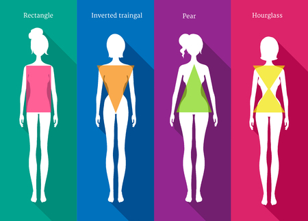 illustrations of female body types white silhouettes with shadows on colored background. Illustration