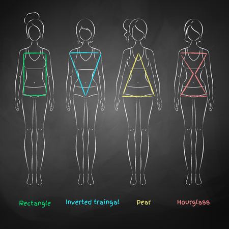 Chalked illustration of female body types on black chalkboard background.