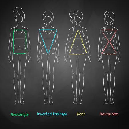 Gekalkt illustratie van vrouwelijke lichaamstypes op zwart bord achtergrond.