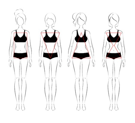 body shape: Line art illustration of female body types.