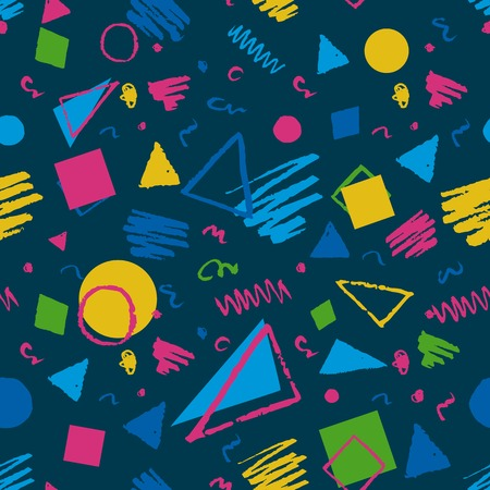 Dark blue seamless geometric 1980s styled pattern with triangles, circles, squares and doodles.