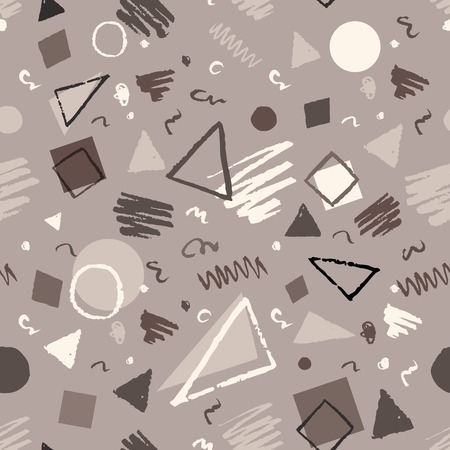 Monochrome vintage seamless geometric pattern with triangles, circles, squares and doodles. Vettoriali