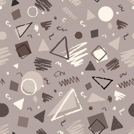 Zwart-wit vintage naadloze geometrisch patroon met driehoeken, cirkels, vierkanten en krabbels.