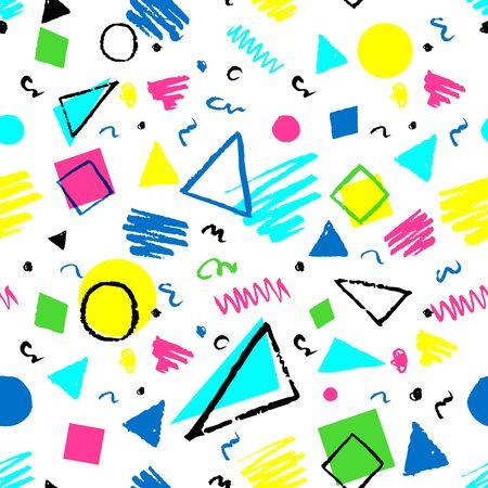明るいシームレスな幾何学的な 1980 年代スタイルの三角形、円、正方形、落書きのパターン。