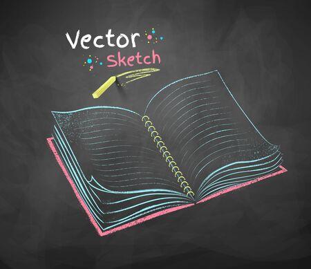 open notebook: Color chalk drawing of open school notebook on black chalkboard background.