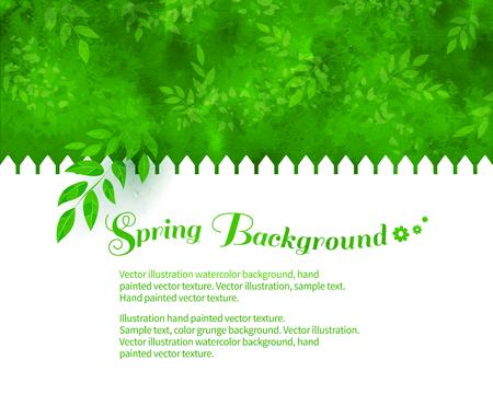 背景に白い塀、木の枝、葉、水彩テクスチャと緑の低木。