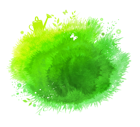 Spring watercolor green stain background with grass, flowers, butterfly and watering can.