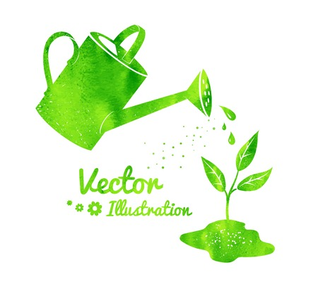 Gardening background with watering can and growing sprout. Illustration