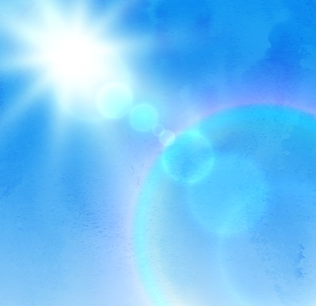 sky blue: background with sunlight rays and blue sky. Illustration