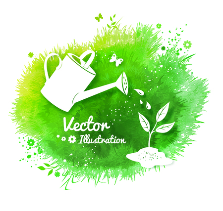 Gardening background with watering can and growing sprout, white silhouettes on watercolor green stain background with grass, flowers and butterfly.