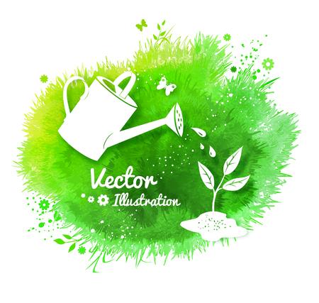 Jardinage de fond avec un arrosoir et croissant pousse, silhouettes blanches sur fond vert aquarelle tache avec de l'herbe, des fleurs et des papillons. Banque d'images - 54773488