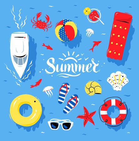 blue and white: Vector summertime top view illustrations set with Summer word lettering on blue water background. Illustration