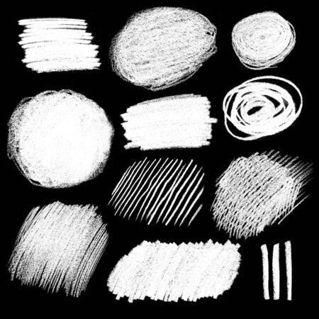 garabatos: Collection of chalked hatching grunge textures on black background.