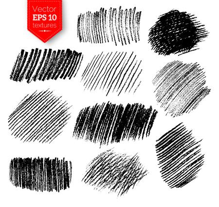 Vector collection of pencil hatching grunge textures. Stock Illustratie
