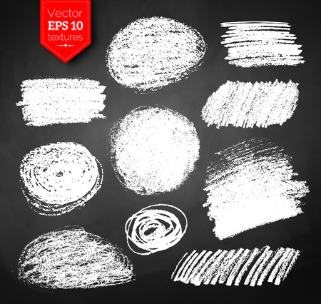 garabatos: Vector colección de dibujado a mano con tiza de la eclosión grunge texturas sobre fondo negro pizarra.