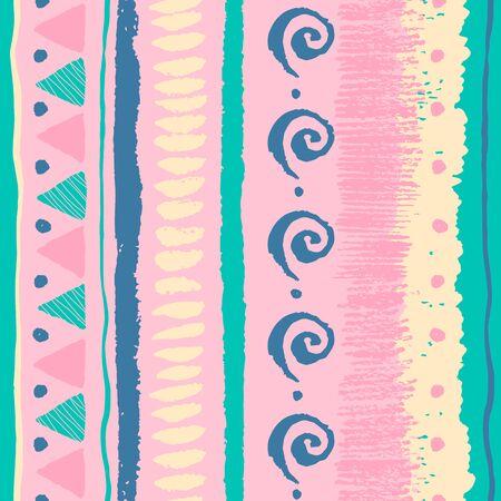 colores pastel: Modelo étnico sin fisuras con el grunge dibujados a mano elementos, triángulos, espirales, puntos y colores pastel suaves.
